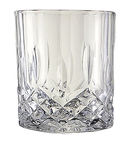 Crystal Drinking Glass - Bezrat Lead-Free Crystal Double Old-Fashioned Highball Water Glasses, SET OF 6, Heavy Base Barware Glasses Set, 12oz Drinking Glasses
