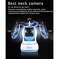 Xkora 720 HD Pan & Tilt WIFI/Network Wireless/Wired IP Camera with Night Vision,Surveillance , Video Record and Smart Motion Detection for Baby, Business, Home Security Via Remote Control (Blue)
