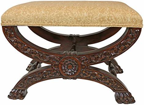 Design Toscano Renaissance Curulis Ottoman Stool, walnut