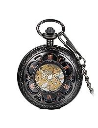 "Avaner Unisex Black Tone Steampunk Antique Hollow Skeleton Half Hunter Case Hand Wind Mechanical Pocket Watch Pendant Necklace Gift with 14"" Chain"