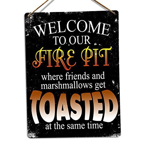 First Rober Welcome to Our Fire Pit Twine Metal Wall Sign Plaque Art Inspirational - 8x12 inch