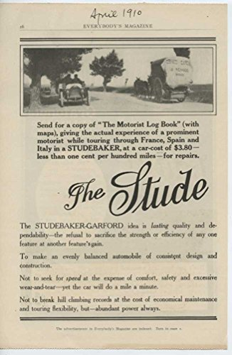 1910 Studebaker Motor Car South Bend IN Auto Ad Columbia Phonograph