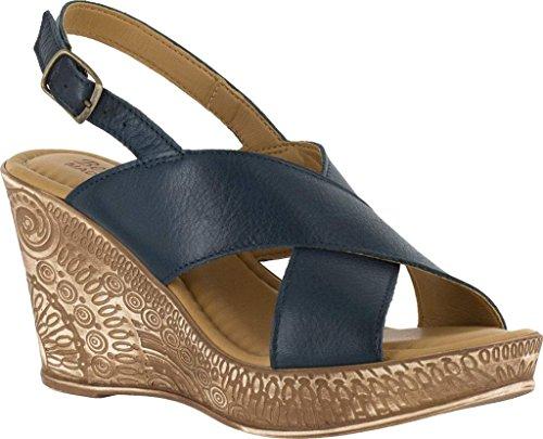 Bella Vita Kvinna Lea-italien Läder Öppen Tå Tillfälliga Plattform Sandaler Marinen Läder