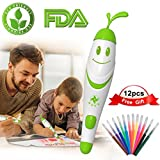 Painting Crafts for Kids, 12pcs Colored Pens with Electric Air Marker Sprayer Airbrush Magic Pens Maker, Art...