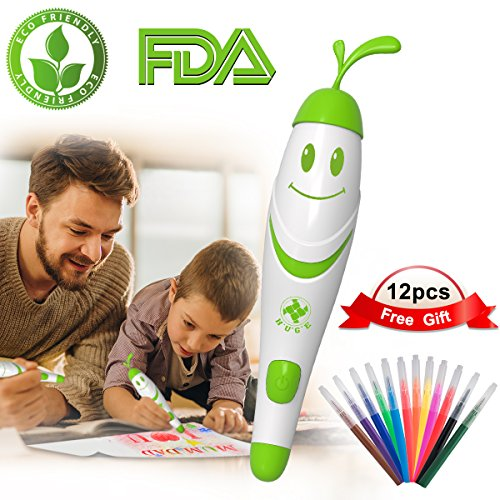Painting Crafts for Kids, 12pcs Colored Pens with Electric Air Marker Sprayer Airbrush Magic Pens Maker, Art Sets for Girls, Childrens Crafts Ages 3-10, Christmas Gift for Kids Drawing Painting Toyspa