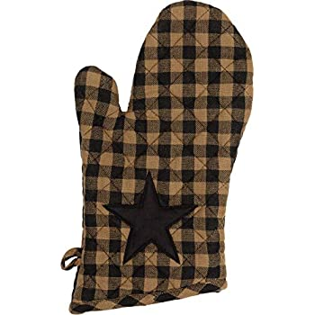 VHC Brands Primitive Tabletop Kitchen Black Fabric Loop Cotton Appliqued Star Oven Mitt, Raven