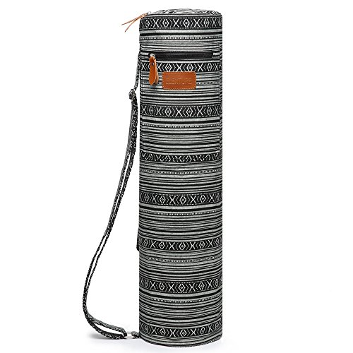 ELENTURE Yoga Mat Carrier with Multi-Functional Storage Pockets (Black and White)