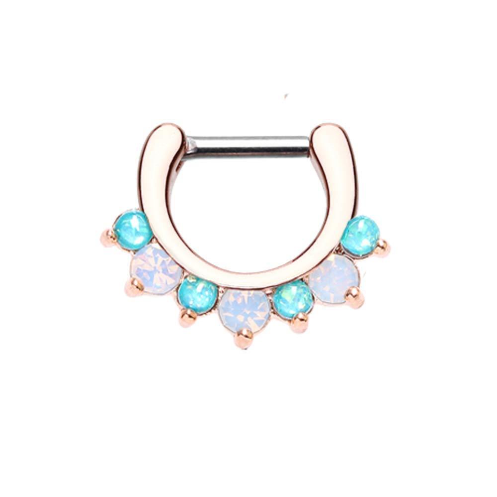 Covet Jewelry Rose Gold Prong White Opal Gem Precia Septum Clicker