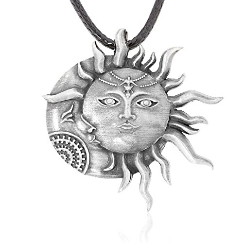 Dan's Jewelers Sun Moon Face Pendant Necklace, Fine Pewter Jewelry (Sun Moon Pendant)