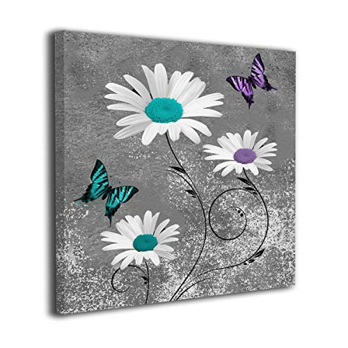 C-Emily Teal Purple Modern Wall Art, Daisy Flowers, Butterflies, Canvas Prints Wall Decor Wall Art Stretched and Framed Ready to Hang