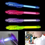 Dazzling Toys Invisible Ink Pen Built in UV Light Pack of 4 Magic Marker Spy Pen