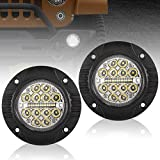 Flush Mount LED Pods 2 Pcs 24w Spot Flood Combo Beam Led Light Bar Round Driving Lights for Off Road Jeep Truck SUV ATV UTV Bumper Thin Light, 2 Years Warranty