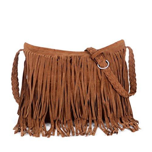 Vbiger Tassels Shoulder Bag Fringed PU Leather Handbag Simple Cross Body Bags for Women Braided Shoulder ()