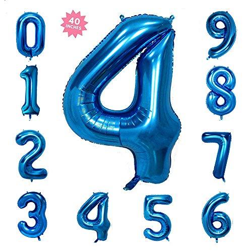 40 Inch Blue Jumbo Digital Number Balloons 4 Huge Giant Balloons Foil Mylar Balloons for Birthday Party,Wedding, Bridal Shower Engagement Photo Shoot, Anniversary -