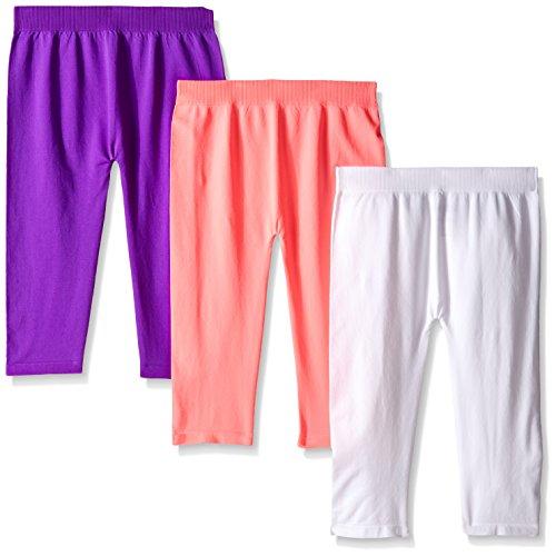 Leggings Capri Kids (Pink House Girls' 3 Piece Seamless Capri Legging, Neon Coral/White/Neon Purple, 7-16)