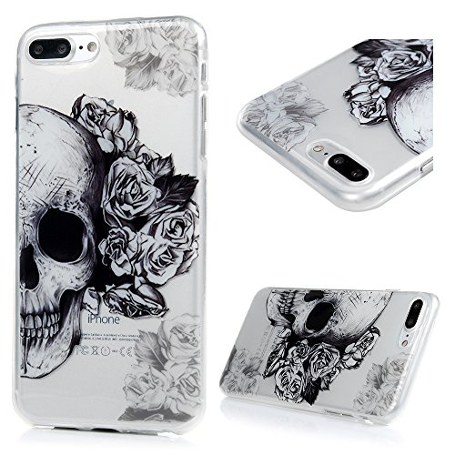 iPhone 8 plus Case, iPhone 7 plus Case - Shockproof Flexible TPU Rubber Skin Gel Bumper Case with IMD Technology Anti Color-fading Print Patterns Slim Fit Protective Cover by Badalink - Flowers/Skull (Case Cover Skull)