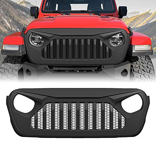 American 4wheel Front Vader Grill for Jeep Wrangler 2018-2019 JL JLU & Unlimited Rubicon Sahara Sports, ABS - Matte Black ()