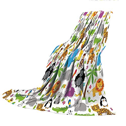 Man Placemat 3 Spider (SCOCICI Comfortable Extra-Thick Blanket, Double-Sided Printing,Nursery,Various Types of Animals Drawn Cute Manner Lions Koalas Tigers Crocodiles Monkeys Decorative,Multicolor,31.50
