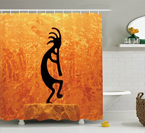 Ambesonne Kokopelli Decor Collection, Kokopelli Southwestern Style Native American Indian Ancient Belief Picture Art, Polyester Fabric Bathroom Shower Curtain Set with Hooks, Orange (Party City Utah)