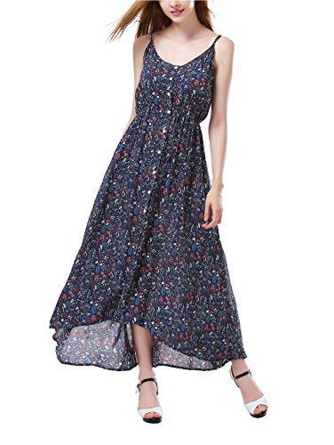 Anglelady Angelady Women Boho V Neck Button Up Floral Print Maxi Dress Strapless Casual Sundress