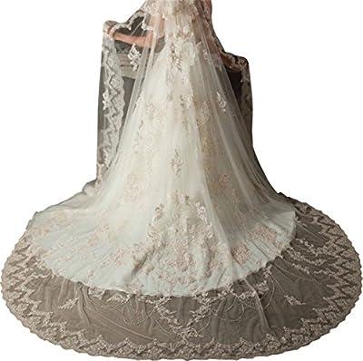 Newdeve 3M 1T Wedding Veils White Tulle Lace Edge Appliques