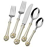 Wallace Napoleon Bee 24kt Gold Accent 18/10 Stainless Steel 45-piece Flatware Set
