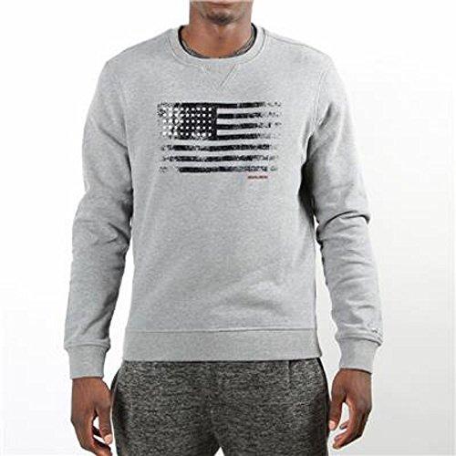 Wofel1056 Lunga Grigio Woolrich Manica Uomo Blu 185d Logo Silver Felpa Usa dwYqfqXO