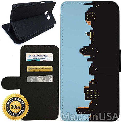 Flip Wallet Case for Galaxy S7 (Animated City Night) with Adjustable Stand and 3 Card Holders | Shock Protection | Lightweight | Includes Stylus Pen by (Animated Hex)