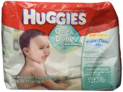 Huggies Naturally Refreshing Thick-N-Clean Baby Wipes, Cucumber and Green Tea, 184 count. ()