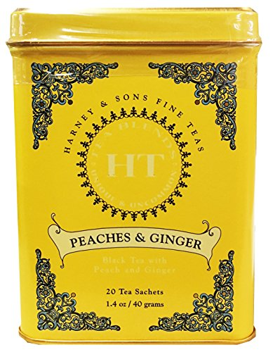 Harney & Sons Peaches and Ginger Tea Tin Can - Caffeinated and High Quality, Great Present Idea - 20 Sachets, 1.4 Ounces