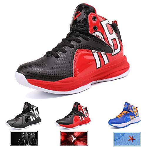 WETIKE Boys Basketball Shoes Lace Up High Top Sneaker Outdoor Trainers For Unisex Kids Durable Sport Shoes (Little Kid/Big Kid) Cool Red,4M US Big child