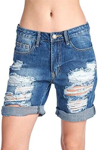 Machine Jeans Women'S Boyfriend Denim Short Destroyed Bombshell High-Rise Distressed