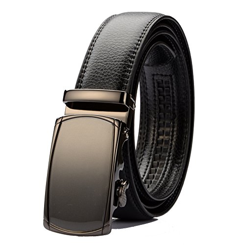 "KingMoore Men's Genuine Leather Ratchet Dress Belt With Automatic Buckle (Up to 45"" Waist, Black1) (Cotton Genuine Belt)"