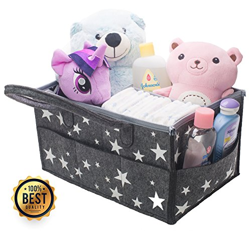 Bhome Portable Diaper Storage Caddy Organizer with Changeable Compartments, Nursery Storage Bin and Car for Diapers and Baby Wipes, Nappy Bags for Mom, Toys for Child, Large, Grey (Brown Double Old Fashioned)
