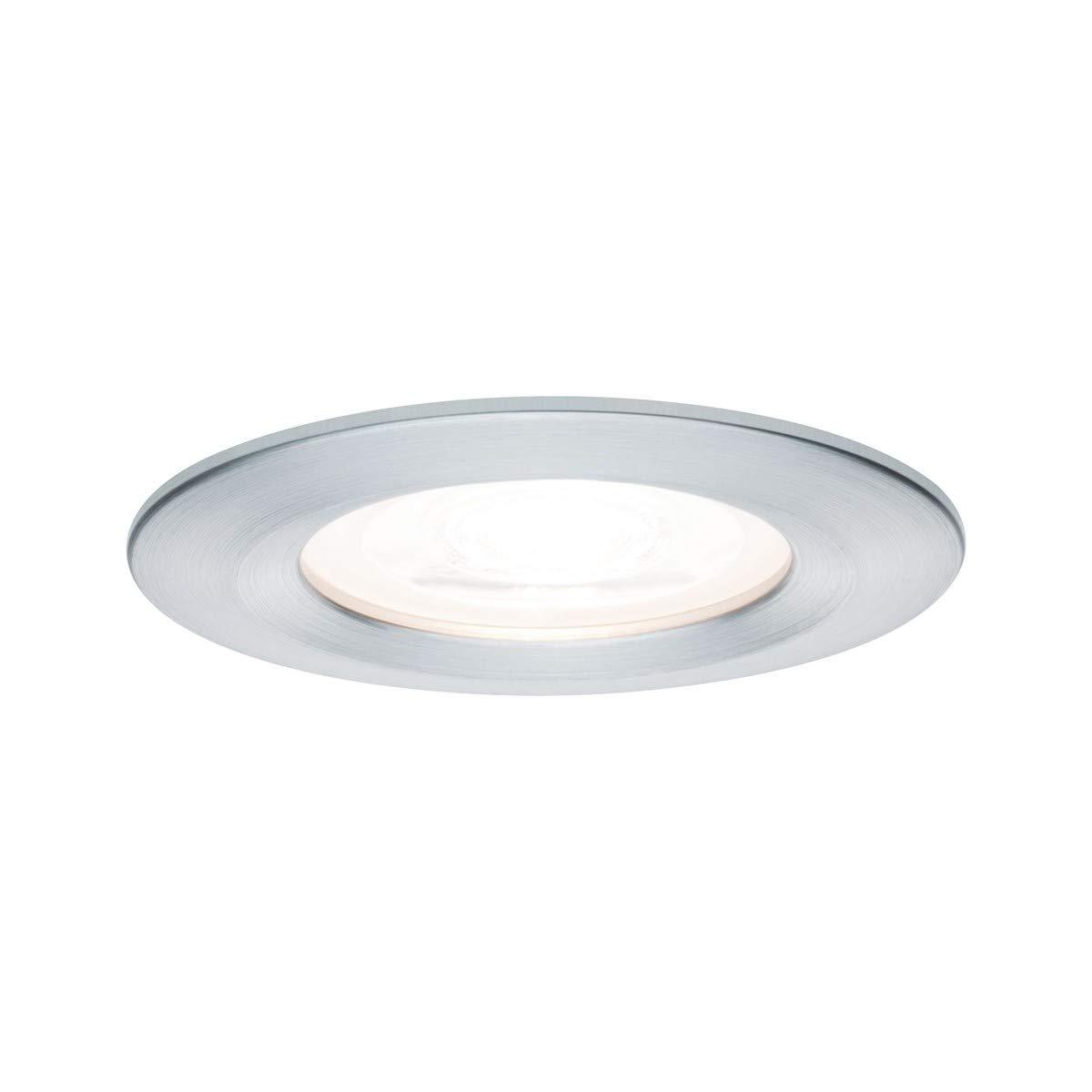 Paulmann Leuchten Paulmann 93598 LED Nova Einbaustrahler rund Deckenspot 3x7W Einbaulampe GU10 Spot Alu dimmbar IP44 spritzwassergeschützt Einbauleuchte, Aluminium, 7 W