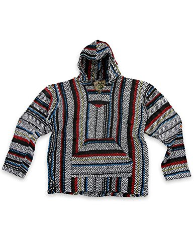 Baja Joe Eco-Friendly Woven Striped Pullover Baja Hoodie Pinstripe 3X ()