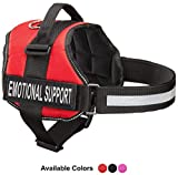 Emotional Support Dog Vest Harness With Reflective Straps, Interchangeable Patches, & Top Handle - ESA Dog Vest in 8 Sizes - Heavy Duty Emotional Support Dog Harness for Working Dogs (Red, XS)