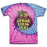 MTV Mens Tie Dye Shirt - #TBT Mens 1980's Clothing - I Want My T-Shirt (Spring Break, Medium)