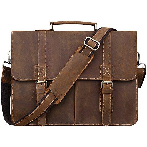 Jack&Chris Men Leather Laptop Bag Briefcase Messenger Bag, N1116-2 ()