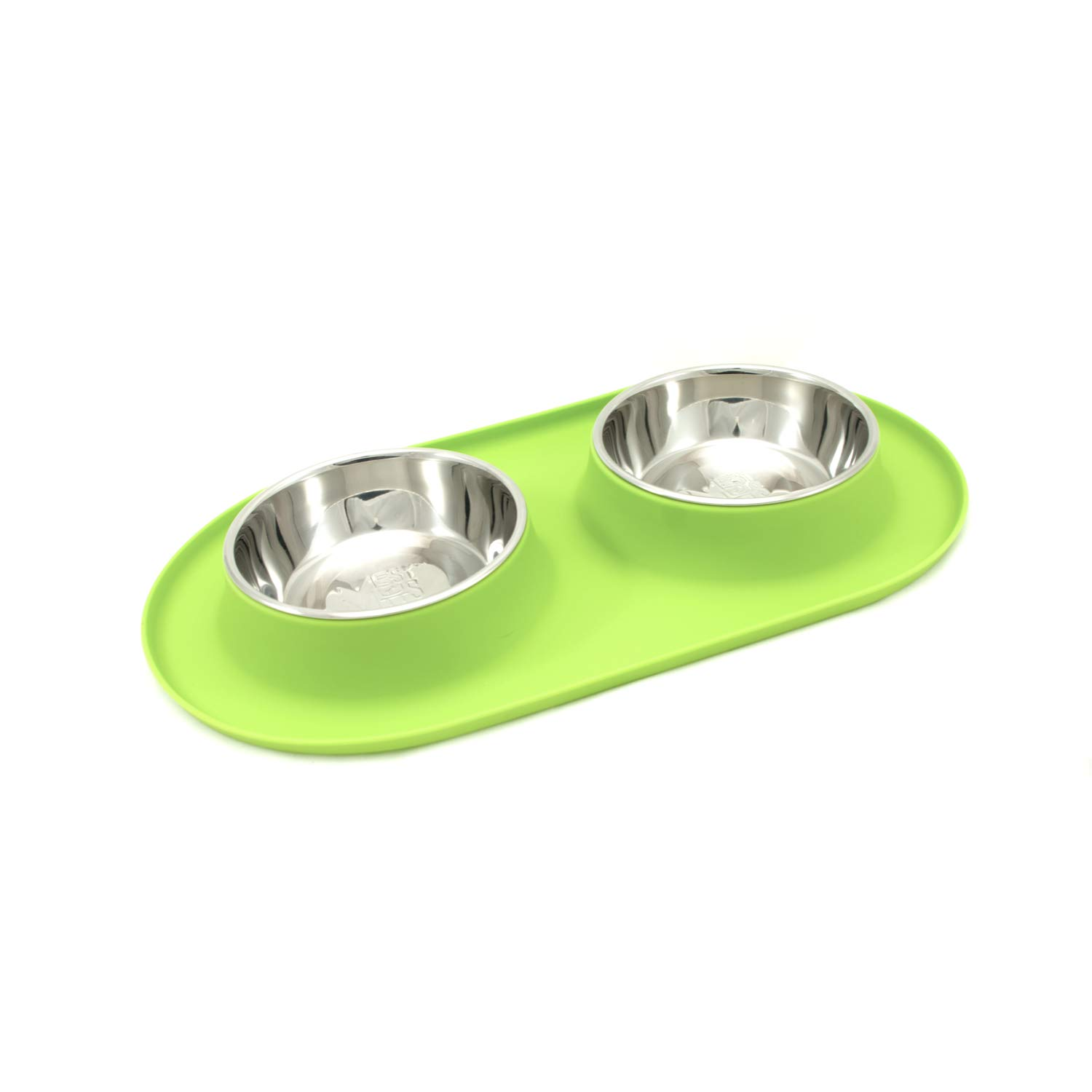 (Medium   1.5 Cups Per Bowl, Green) Messy Mutts Stainless Steel Double Dog Feeder with Non-Slip Silicone Base
