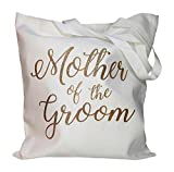 The Spoiled Office Wedding Party Bridal Tote Bag with Gold Lettering - Heavyweight, Large Canvas 15'' x 16'' (Mother of the Groom in White)