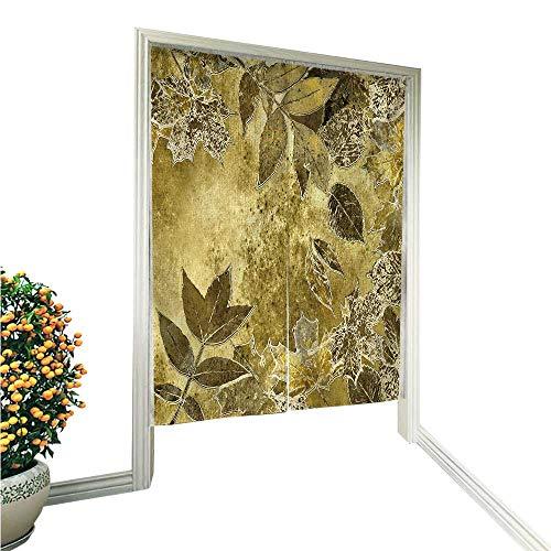 UHOO2018 Noren Style Doorway Curtain Art and Graphic Leaves Autumn Monochrome gen Background Card Doorway Curtain 33.5