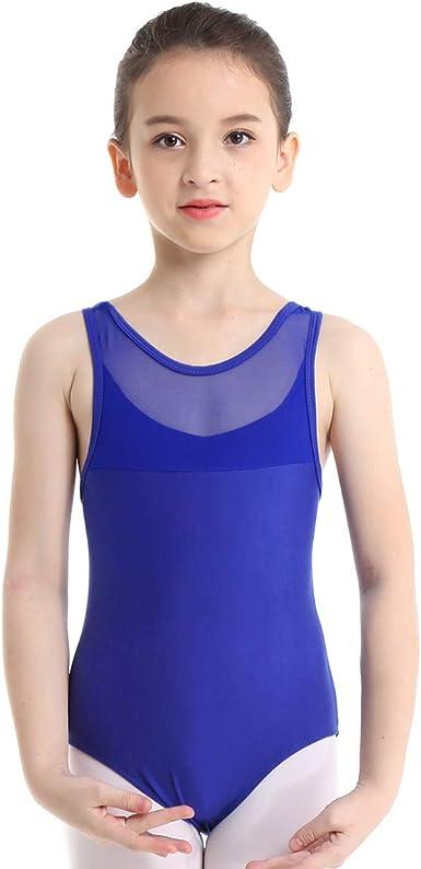 iixpin Fille Justaucorps de Danse Tutu Body Sport Gymnastique Yoga Haut de Danse Bodysuit Top sans Manches Elastique Jumpsuit Enfant 4-12 Ans