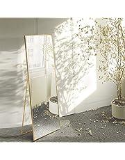 AUFHELLEN Miroir sur Pied 140x40cm HD Miroir avec Cadre en Métal avec Crochet pour Salon, Chambre ou Dressing Or