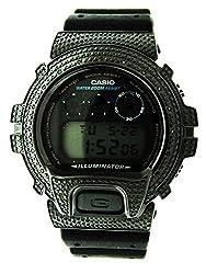 Men Casio G Shock 15 Diamonds Black Face Watch 6900 Black Case & Face
