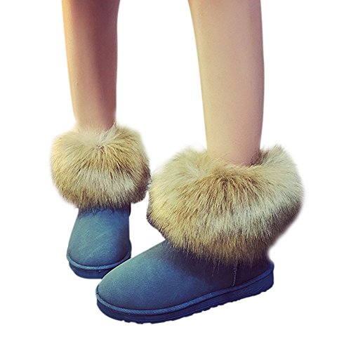 Fuyingda Ladies Women Winter Snow Faux Fur Fluffy Ankle Boots Warm Comfy Casual Flat Shoe Blue EkIiOqRXR