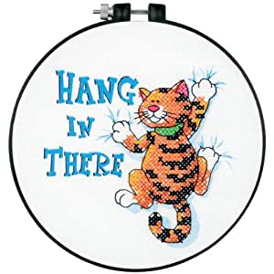 "Dimensions - Kit de punto de cruz (redondo, 15 cm), diseño de gato con texto ""Hang in there"""