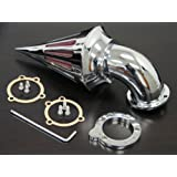 aegarage86® Chrome Billet Aluminum Spike Air Cleaner Intake Filter Kit for Aftermarket Harley S&S CV Carb Sportster Carburetors Custom