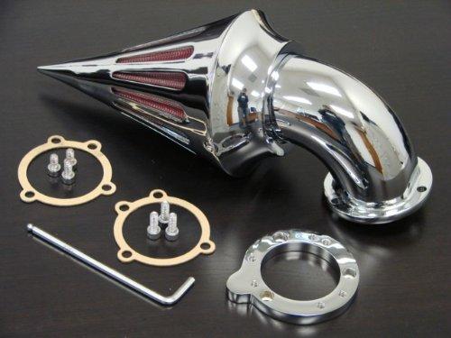aegarage86® Chrome Billet Aluminum Spike Air Cleaner Intake Filter Kit for Aftermarket Harley S&S CV Carb Sportster Carburetors Custom ()