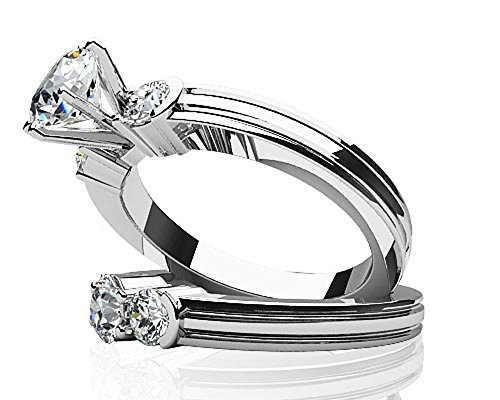 14 K Or blanc diamant strié côté Accent mariée Ensemble